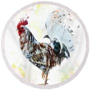 Colorful Rooster Round Beach Towel
