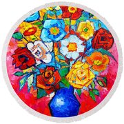 Colorful Roses And Camellias - Abstract Bouquet Of Flowers Round Beach Towel