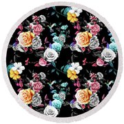 Colorful Roses Round Beach Towel
