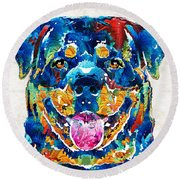 Colorful Rottie Art - Rottweiler By Sharon Cummings Round Beach Towel