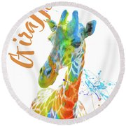 Colorful Safari Animals D Round Beach Towel