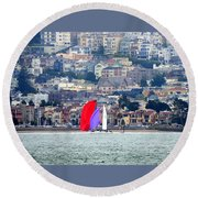Colorful Sails Round Beach Towel