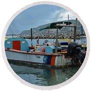 Colorful Saint Martin Power Boat Caribbean Round Beach Towel