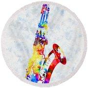 Colorful Saxophone Round Beach Towel
