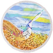 Colorful Seagull Round Beach Towel