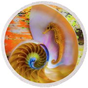 Colorful Seahorse And Nautilus Shell Round Beach Towel