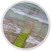 Colorful Seawall Round Beach Towel