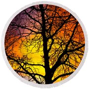 Colorful Silhouette Round Beach Towel