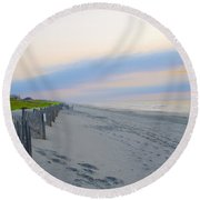 Colorful Skies On The Beach In Stone Harbor Round Beach Towel