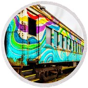 Colorful Skunk Train Passenger Car Round Beach Towel