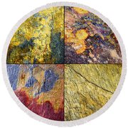 Colorful Slate Tile Abstract Composite Sq1 Round Beach Towel