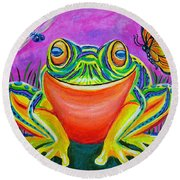 Colorful Smiling Frog-voodoo Frog Round Beach Towel