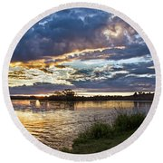 Colorful Snake River Round Beach Towel