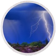 Colorful Sonoran Desert Storm Round Beach Towel