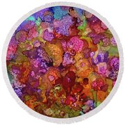 Colorful Spring Garden Round Beach Towel
