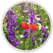 Colorful Spring Wild Flowers Round Beach Towel