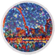Colorful St Louis Skyline Round Beach Towel