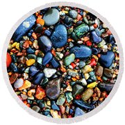 Colorful Stones I Round Beach Towel