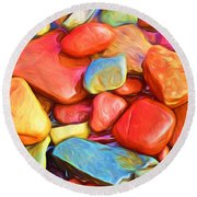 Colorful Stones Round Beach Towel