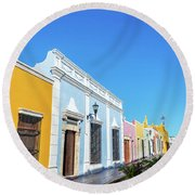 Colorful Street In Campeche, Mexico Round Beach Towel