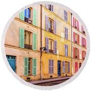 Colorful Street In Paris Round Beach Towel