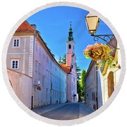 Colorful Street Of Baroque Town Varazdin  Round Beach Towel