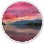 Colorful Sunrise At Columbia River Gorge Round Beach Towel