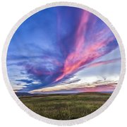 Colorful Sunset At The Reesor Ranch Round Beach Towel