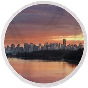Colorful Sunset Over Vancouver Bc Downtown Skyline Round Beach Towel