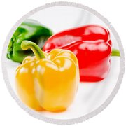 Colorful Sweet Peppers Round Beach Towel