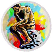 Colorful Thinker Round Beach Towel