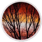 Colorful Tree Branches Round Beach Towel