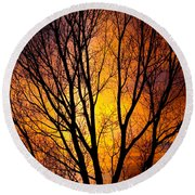 Colorful Tree Silhouettes Round Beach Towel
