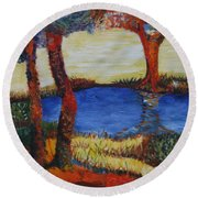Colorful Trees Round Beach Towel