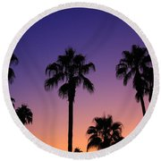 Colorful Tropical Palm Tree Sunset Round Beach Towel