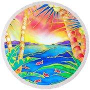 Colorful Tropics 12 Round Beach Towel