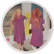 Colorful Twins Round Beach Towel