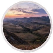 Colorful Valley Round Beach Towel