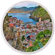 Colorful Vernazza From Behind Round Beach Towel