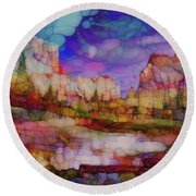 Colorful Vista Round Beach Towel