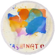 Colorful Washington State Map Round Beach Towel