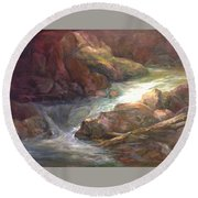 Colorful Water Flow Round Beach Towel