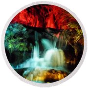 Colorful Waterfall Round Beach Towel
