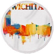 Colorful Wichita Skyline Silhouette Round Beach Towel