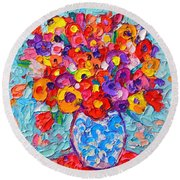 Colorful Wildflowers - Abstract Floral Art By Ana Maria Edulescu Round Beach Towel