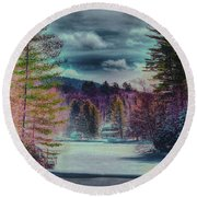 Colorful Winter Wonderland Round Beach Towel