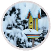 Colorful Wooden Birdhouse In The Snow Round Beach Towel