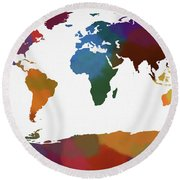 Colorful World Map Round Beach Towel