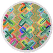 Colorful X-pattern  Round Beach Towel