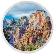 Colorful Zion Canyon National Park Utah Round Beach Towel